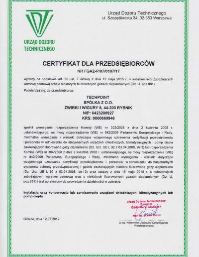 Certyfikat UDT F-GAZ