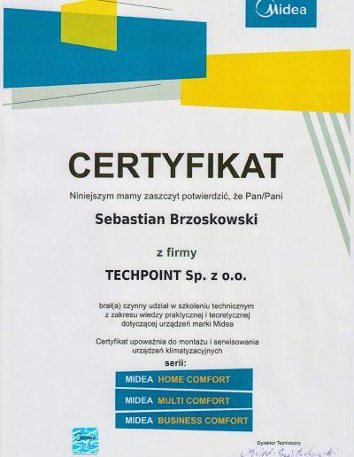 Certyfikat Midea Home Comfort, Multi Comfort, Business Comfort