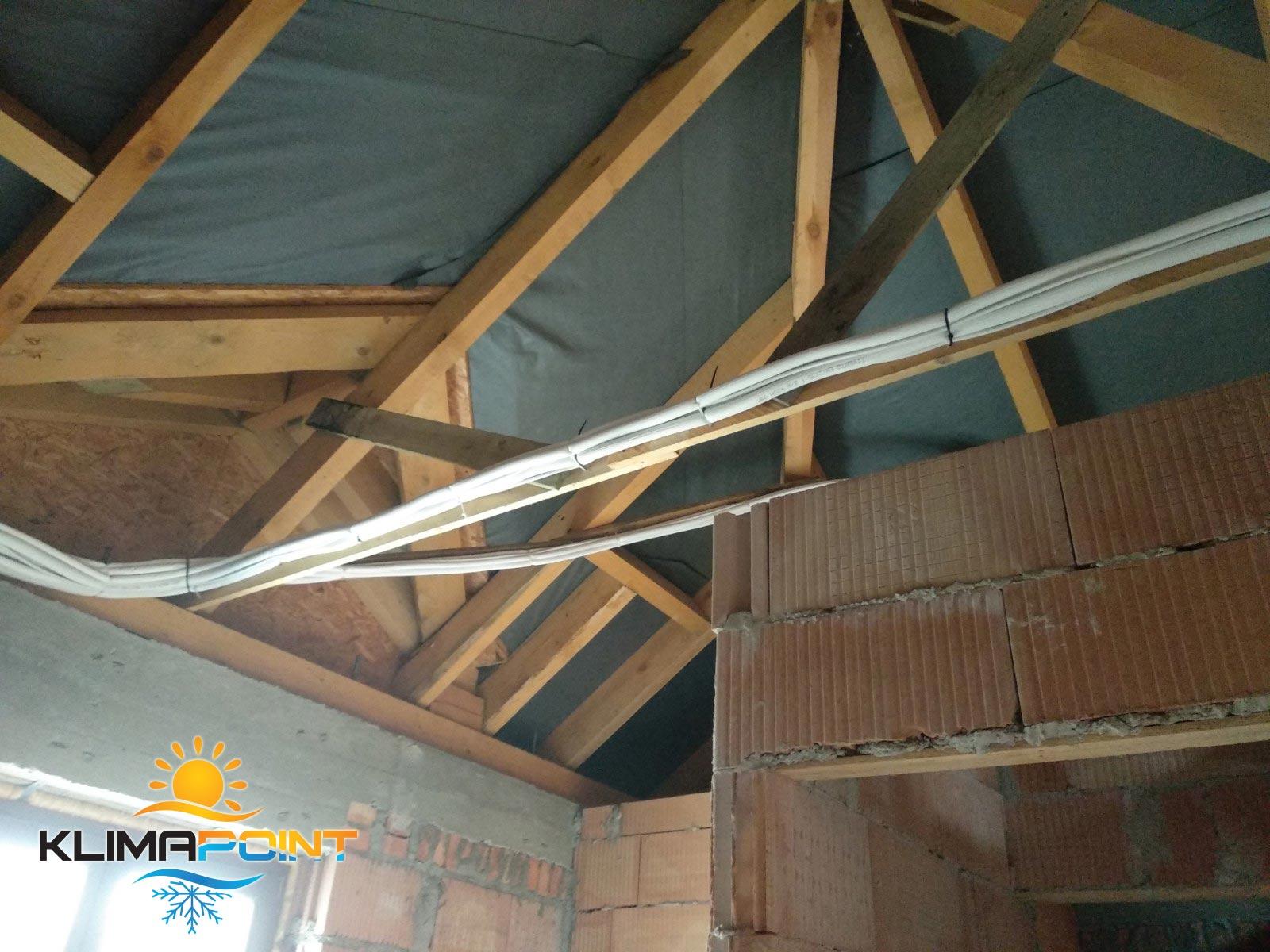 Instalacja chłodnicza klimatyzacji na poddaszu